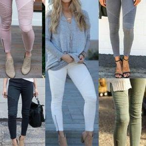 Pants - Moto Khaki Leggings